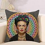 Adecuado para funda de almohada Frida Kahlo, cojín de autorretrato de mujer pintora mexicana, funda de almohada de lino estampado, 45 x 45 cm para sofá y cama en salón y dormitorio