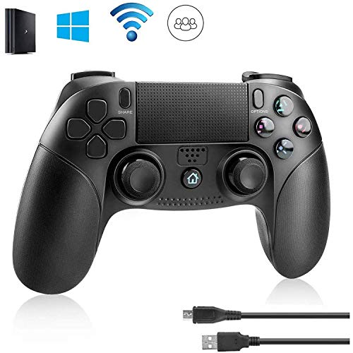 PS4 Controller Wireless Gamepad Laptop mit Bewegungsmotoren und Audiofunktion, Mini-LED-Anzeige, USB-Kabel und Anti-Rutsch-Funktion für Playstation 4 / Pro/Slim/PC Windows