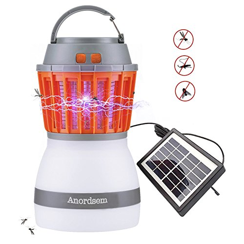 Anordsem - Lámpara LED de Camping, Recargable, luz UV, con función Bug Zapper, Carga Solar y USB para Exteriores, Camping, Senderismo, Control, Color Gris