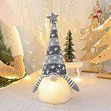 Muñeco De Gnomo Navideño, Juguete De Elfo De Peluche De Tomte Sueco Hecho A Mano con Luz LED para Decoración De Mesa, Muñeco De Elfo Escandinavo Nórdico De Nisse Santa (Gray)