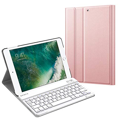 Fintie Tastatur Hülle für iPad 9.7 Zoll 2018 2017 / iPad Air 2 / iPad Air - Ultradünn leicht Schutzhülle Keyboard Case mit magnetisch Abnehmbarer drahtloser Deutscher Bluetooth Tastatur, Roségold