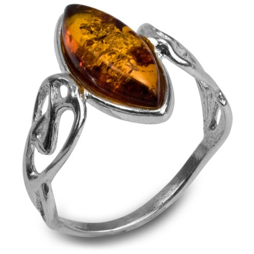 Sterling Silver Amber Marquise Shaped Celtic Ring