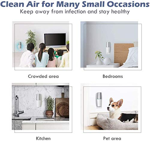 HomeZens Portable Plug in Air Purifier for Viruses and Bacteria, UV-C Light Sanitizer Eliminate and Sanitize Germs & Odor, Keep Air Clean for Bedroom, Kitchen, Bathroom, Pet Area, Nursery, Small Rooms 7 🍃 UV air purifiers are designed to use UV-C light to inactivate airborne pathogens and microorganisms like mold, bacteria and viruses. Powerful UV-C light can kill up to 99.9% of germs and bacteria without any additional liquid or chemicals. 🍃 This 7 inch small wall pluggable air purifier is perfect for the kitchen, litter box room, bathroom, or children's room. Just plug it into any 120V outlet and 180 degrees rotatable plug for a different angle, the light will turn on and work, effectively sanitize a 10㎡ room it within 2h to get the best result. 🍃 UV light air purifiers disinfect the hard to reach corner of your room, The top cover for full protection design and fully sealed air purification design works in photolysis cavity, no radiation and ozone leakage, no need to be away from the room when working.