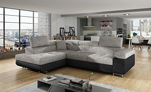 Herby Ecksofa Antos mit Schlaffunktion Bettkasten Sofa Couch Schlafsofa Seite Links oder Rechts (Links)