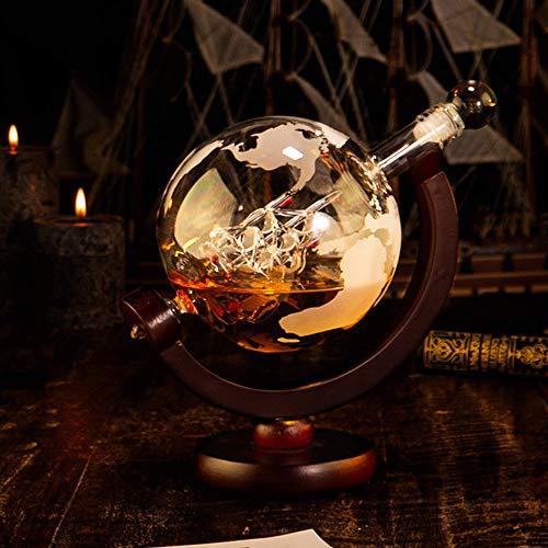 Whisiskey® Whiskey Karaffe - Globus - Whisky Karaffe Set - 900 ml - Geschenk für Männer und Frauen - Inkl. 9 Whisky-Steine und Schenktülle - 6