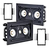 Speakercraft ASM54631 Profile AIM LCR3 Three Pivoting Dual 3' 2-Way in-Wall Speakers w/Free New Construction Brackets (2 Pack)