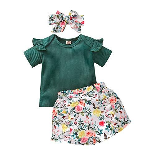 Disfraces para niña Juego de ropa para niña Top de punto liso de manga corta con volantes de niña + pantalones cortos florales con impresión floral + diademas, juego de 6 meses a 4 años