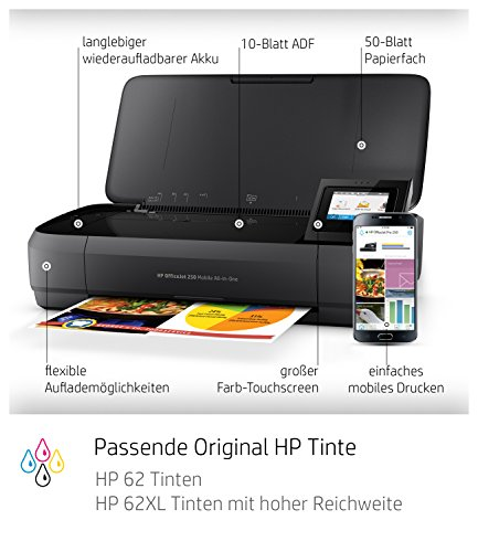HP Officejet 250 mobiler Multifunktionsdrucker (Drucker Scanner, Kopierer, WLAN, HP ePrint, Wifi Direct, USB, 4800 x 1200 dpi) schwarz
