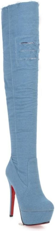 NVXUEZIX Frauen Schuhe Denim Reißverschluss 13,5 cm High High High Heels Über die Knie Stiefel Spitz-lässig Stil Verdicken Warm, 37  020790