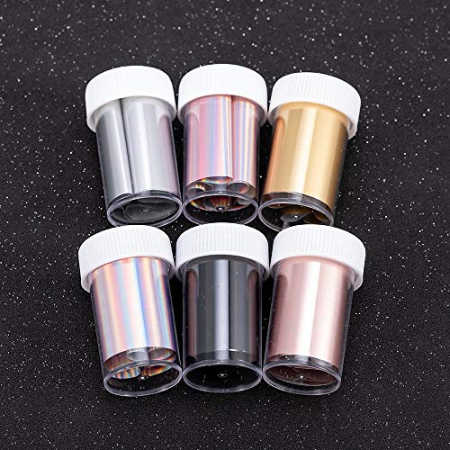Rose Gold Laser violet Nail Foil Silver Holographic Manicure Nail Art Transfer Stickers Decal DIY personality Sticker Decoration