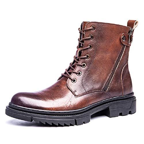 Botas Martin Para Hombre Botas Altas De Caballero De Motocicleta Botas Motorista De Estilo Británico Vintage Zapatos Occidentales De Pantorrilla Ancha Informal Botas Cortas Para Exteriores,Brown-43