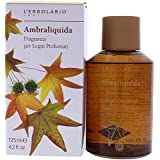 L'Erbolario - Ambraliquida - Fragrance Wooden Reed Diffuser - Long-lasting Amber, Creamy Scent - Decorative, Room Fragrance for Bedroom, Bathroom & Office, 4.2 oz