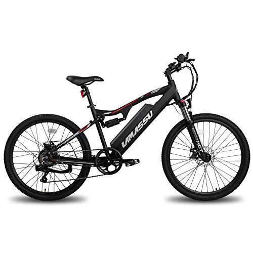 LAMASSU E-Bike Elektro-Mountainbike Elektrofahrrad für Erwachsene mit 48/36V 10Ah Akku mit Aluminiumrahmen, Scheibenbremse, LCD-Anzeige, Shimano 7-Gang-Schaltung