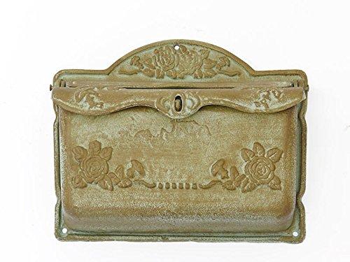 Antike Fundgrube Wandbriefkasten Briefkasten Vintage antik Stil Gusseisen Shabby Chic grün (6070)