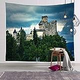 NSWMDSTD Tapiz para colgar en la pared, castillo en la parte superior de la colina, tapiz de pared hippie indio patrón étnico, para decoración del hogar, dormitorio, cabecero de cama, 200 cm x 150 cm