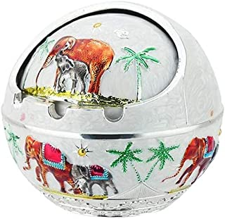 LIFEIYAN Ash Tray Windproof Ashtray with Lid, Portable Elephant Scent Remover for Closed Outdoor Retro Ashtrays for Outdoor and Indoor Use, for Homes and Offices (Color : Silver)