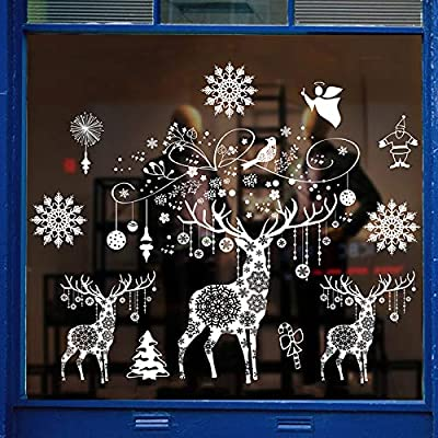 lazysunny Christmas Window Decals, White Star Snowflakes Decorations, Removable PVC Wall Sticker for Christmas, Holiday, Winter Wonderland White Decorations (elk)