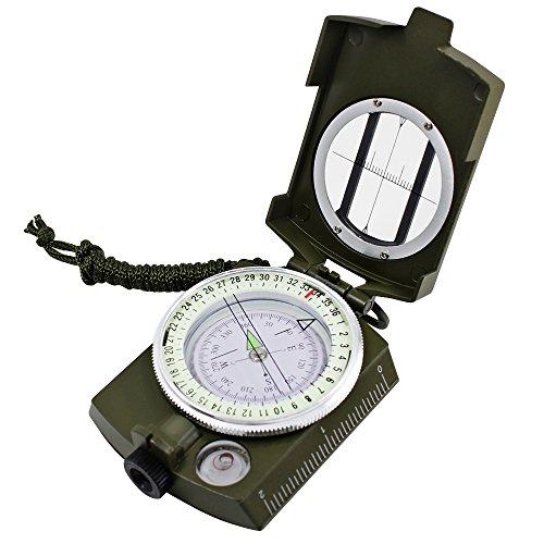 Dland Compass Waterproof Multifonctionnel, Militaires Médaille de l'Armée Compass Visée avec inclinomètre pour Camping, randonnée pédestre et Autres activités en Plein air. (Army Green)