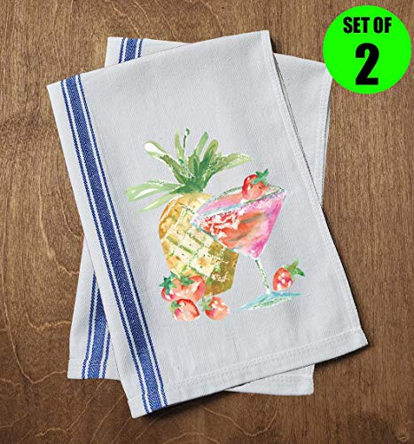 Classic Kitchen Towels Watercolor Martini Cocktail Glass Pineapple Strawberry Party Beach Bar Drinking Funny Dish Towels with Sayings Set of 2 Multipurpose Blue Stripe Towel