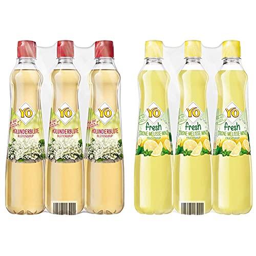 Yo Sirup Holunderblüte, 6er Pack, PET (6 x 700 ml) & Fresh Zitrone-Melisse-Minze, 6er Pack, PET (6 x 700 ml)