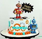 9 PCS JeVenis Robot Cake Topper Robot Happy Birthday Cake Decoration Gear Cake Topper