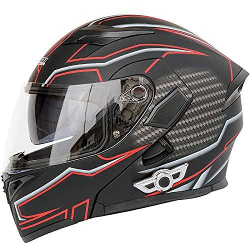 XYXZ Cascos Integrales para Motocicleta Casco Bluetooth para Motocicleta, Casco Modular Abatible para Motocicleta, Certificación De Puntos Casco Integral para Motocicleta Integrado con Doble