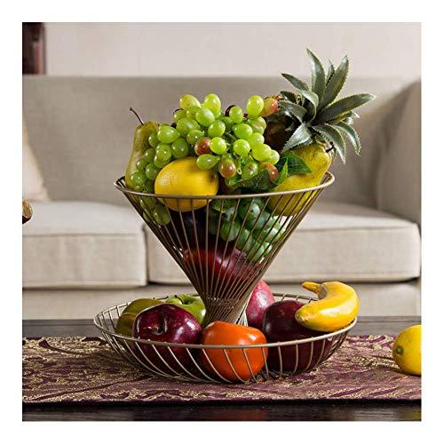 2 lagen aanrecht Fruitmand Komhouder, Fruitopslagmand Grote capaciteit Moderne keuken Metalen draad Ronde fruitschaal Komcontainer,Gold