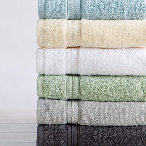 12-Pack Washcloth Set. 100% Cotton Absorbent Quick-Dry Plush Washcloth Towels. Wash Cloths for Bathrooms. Cooper Collection. (Washcloths, Light Grey)