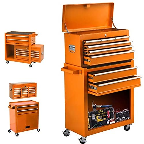 High Capacity 8-Drawer Tool Chest &Tool Box Tool Cabinet with Wheels and Drawers Detachable Organizer Tool Chest Combo,Mobile Lockable Toolbox for Workshop Garage Mechanics (8 Drawers-ORANGE)