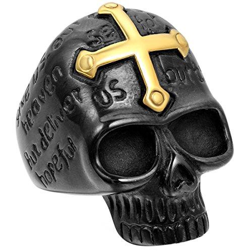 JewelryWe Bijoux Bague Grand Homme, anneaux gothique avec croix, Alien crâne tête de mort, acier inoxydable, punk style couleur or noir (avec sac cadeau) Noir