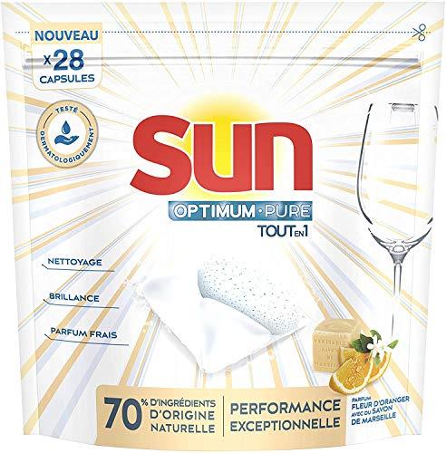 Sun Cápsulas para lavavajillas Optimum Pure todo en 1, limón, jabón de Marsella y flor de naranjo, 28 unidades