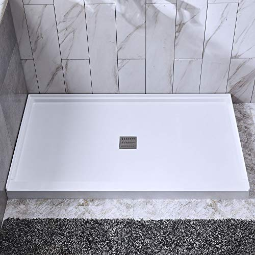 """WOODBRIDGE SBR4832-1000 C Solid Surface Shower Base 48"""" x 36"""" Recessed Trench Side Including Stainless Steel Linear Cover Center Drain, White"""