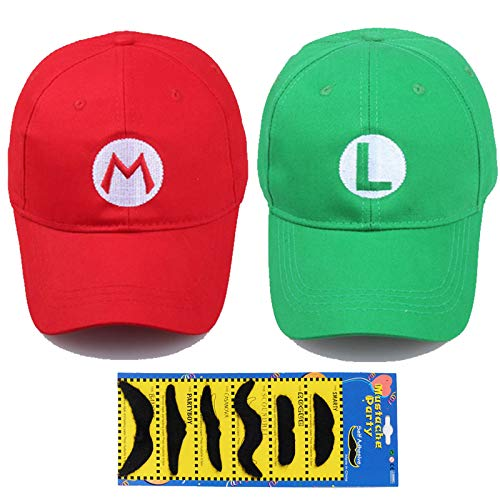 TISOSO Fashion Super Mario Bros Hat Baseball Cap Unisex Costume cosplay Halloween Hat for Adult Kids (Red and Green) 2Pcs