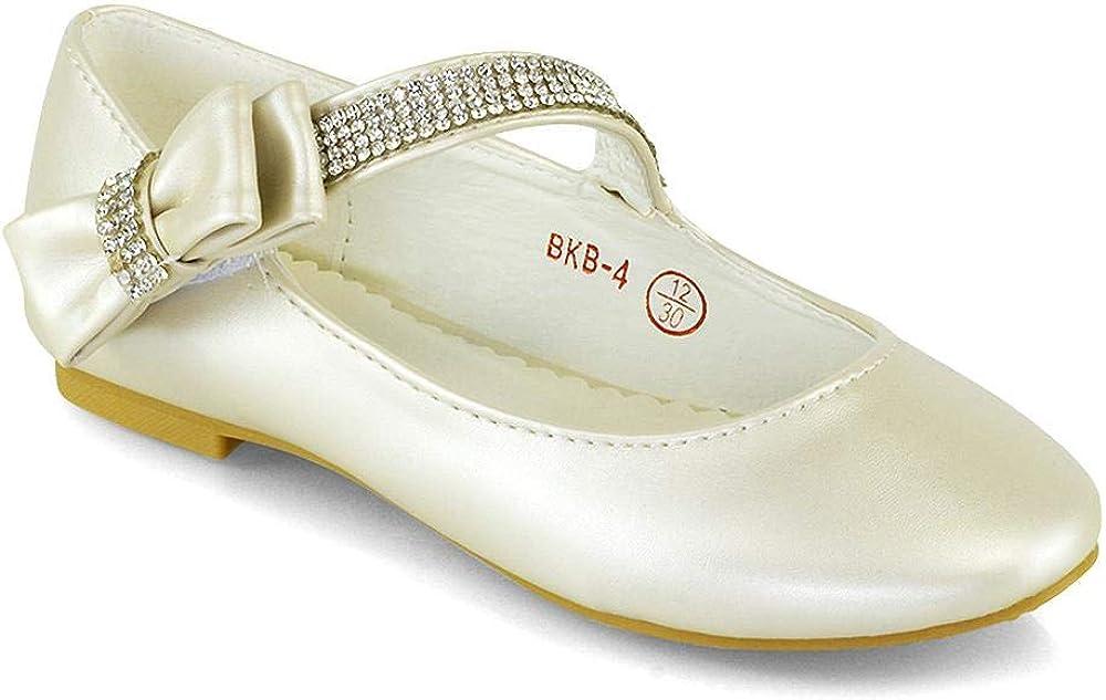 Belle Beaux Gils Flat Shoes Bridal Party Satin Diamante Bow Strap Kids Evening Pumps