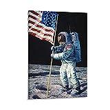 Astronauten Land Mond Flaggen Universum Geschichte Klassenzimmer Poster Kunstdruck Wohnzimmer Gemälde auf Leinwand Wand Kunst Poster Wand Dekor Home Poster 50 x 75 cm