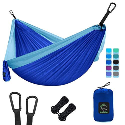 Grassman Hamaca portátil para camping con correas de árbol, ligera paracaídas, accesorio de camping para interior y exterior, viajes, senderismo, playa