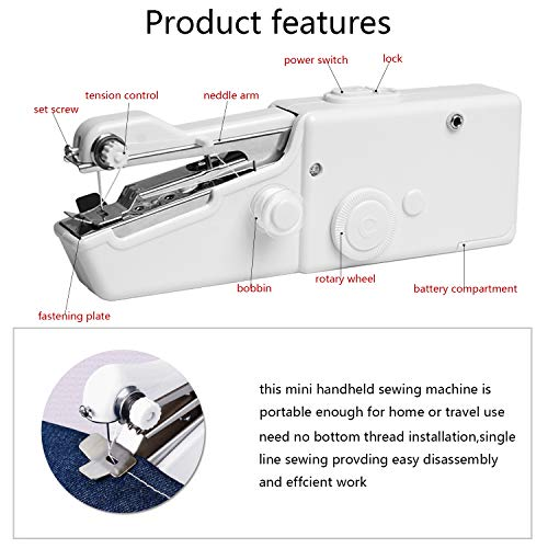 Mini Sewing Machine,Handheld Sewing Machine Portable Mini Sewing Machine Electric Stitch Household Tool for Fabric, Crafts, Home Travel Use (Battery Not Included) (White)