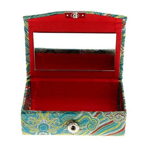 SDENSHI Rétro Double Boîte D'affichage de Rouges à Lèvres Brodée avec Le Cas de Support de Bijoux de Miroir - vert, comme décrit