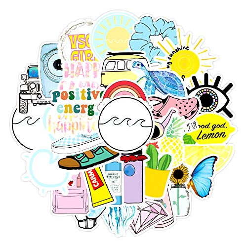 Stickers for Water Bottles Big 50-Pack Cute,Waterproof,Aesthetic,Trendy Stickers for Teens,Girls Perfect for Waterbottle,Laptop,Phone,Travel (Beach)