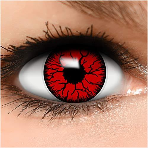 Farbige Kontaktlinsen Devil in rot + Behälter - Top Linsenfinder Markenqualität, 1Paar (2 Stück)