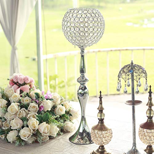 """Efavormart 30"""" Silver Acrylic Crystal Goblet Candle Holder Flower Ball Centerpiece for Wedding Events Decoration"""