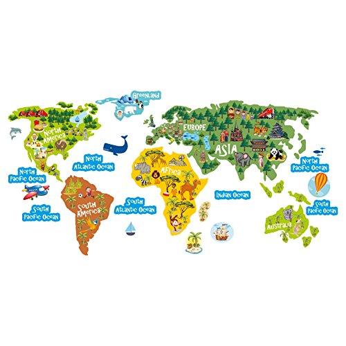 lepni.me Mapa del Mundo Pegatinas para niños - Arte de la Pared - Calcomanías de Pared Decoración extraíble para el Dormitorio Infantil Sala de Estar del Dormitorio de los niños (110 cm. / 55 cm.)