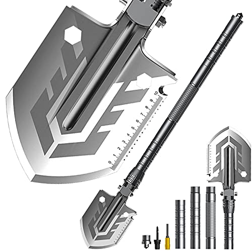 Military Camping ShovelFolding Portable Survival Shovel and Multifunctional Tactical Foldable Entrenching Tool for Outdoor Hiking Expedition Garden OffRoading etc