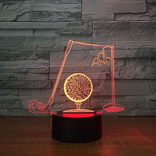 3D-nachtlampje golfclubs, led-lamp voor kinderen, 7 kleuren touch-verlichting met USB, het beste cadeau voor kinderen