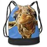 OKIJH Mochila Mochila de Ocio Mochila con cordón Mochila Multifuncional Bolsa de Gimnasio Gymsack Drawstring Bag Sackpack Cute Giraffe Sport Cinch Pack Simple Bundle Pocke Backpack For Men Women