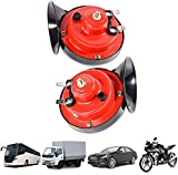 Blu7ive 2 PCS 300DB Super Loud Train Horn for Truck, Train Boat Car Air Electric Snail Single Horn, 12v Waterproof Double Horn Raging Sound Raging Sound for Motorcycle Car Motorcycle (RED)