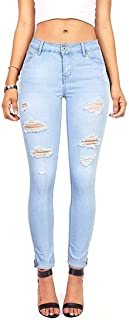 Grimgrow High Waisted Jeans for Women, Junior Stretch Skinny Moto Denim Pants Light Blue Size 4