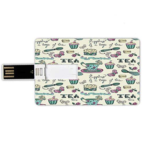 32G USB-Flash-Laufwerke Kreditkartenform Tea Party Memory Stick Bankkartenstil Glück ist eine Tasse Tee Stilisierte Kalligraphie Schmetterlinge Rosen Dekorativ, Creme Pink Waldgrün Wasserdichter Stift