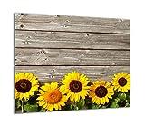 TMK | Placa de cristal para cubrir la cocina de 60 x 52 cm, una sola pieza, protección contra salpicaduras, placa decorativa de madera y flor