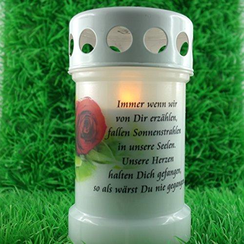 LED Grabkerze Trauerlicht für aussen und innen mit Spruch. 13cm. 1 Stück inklusive Trauerspruch Immer